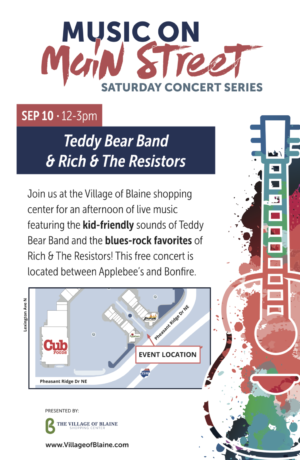 Music on Main Street poster 6_2016 (teddy bear band rich resistors)