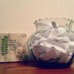 Glass Jar filled with paper