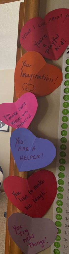 Paper hearts with words of encouragement - Washburn Center